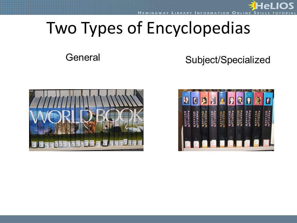 Two Types of Encyclopedias
