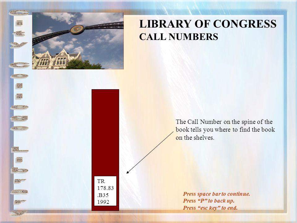 LIBRARY OF CONGRESS CALL NUMBERS City College Library