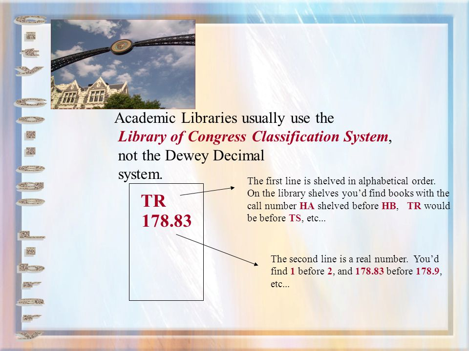 TR 178.83 City College Library Academic Libraries usually use the