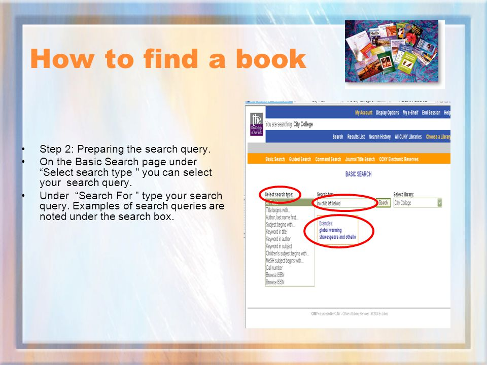 How to find a book Step 2: Preparing the search query.