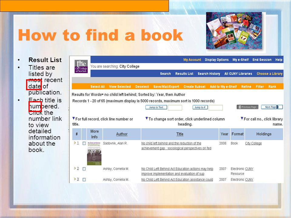 How to find a book Result List