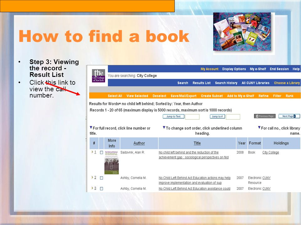 How to find a book Step 3: Viewing the record - Result List