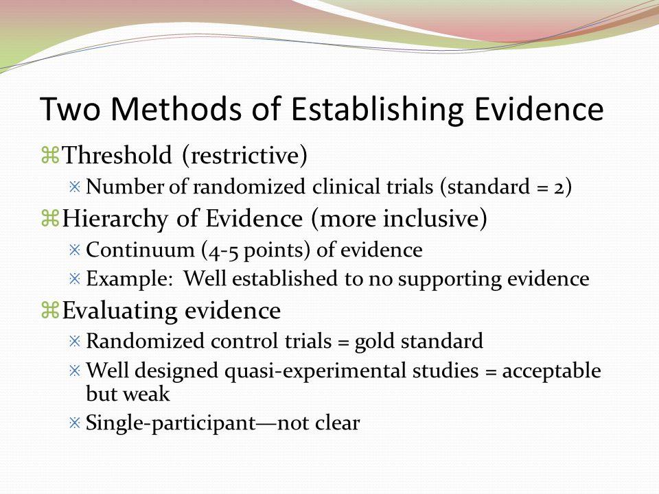 Two Methods of Establishing Evidence