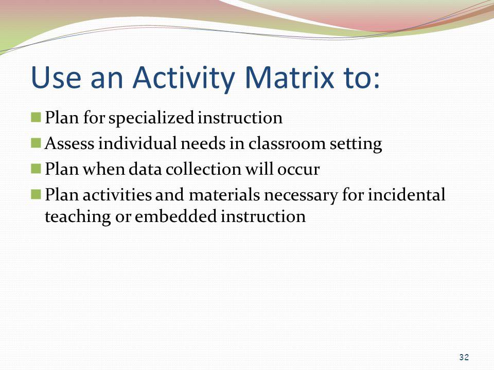 Use an Activity Matrix to: