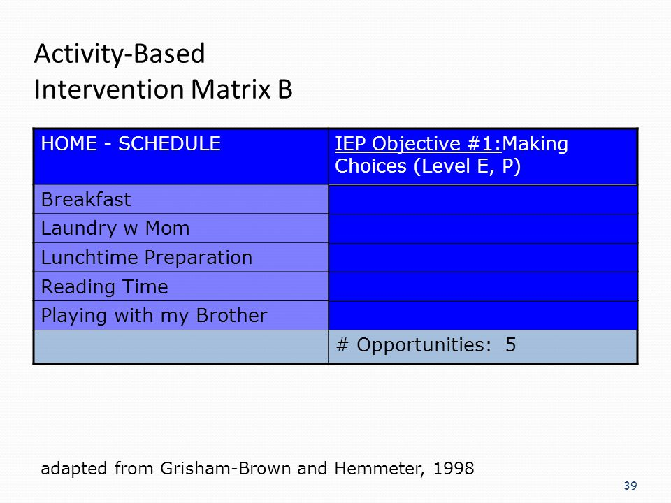 Activity-Based Intervention Matrix B