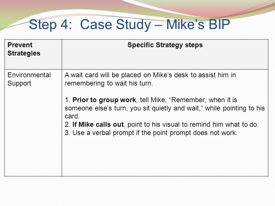 Step 4: Case Study – Mike's BIP