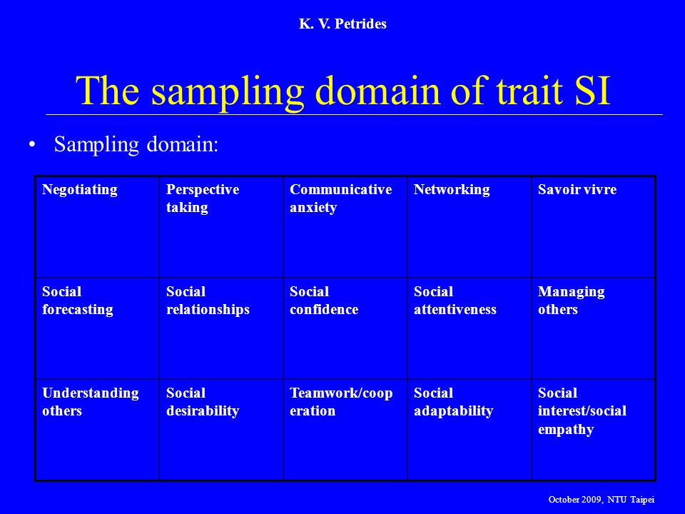 The sampling domain of trait SI