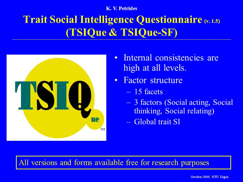 Trait Social Intelligence Questionnaire (v. 1.5) (TSIQue & TSIQue-SF)