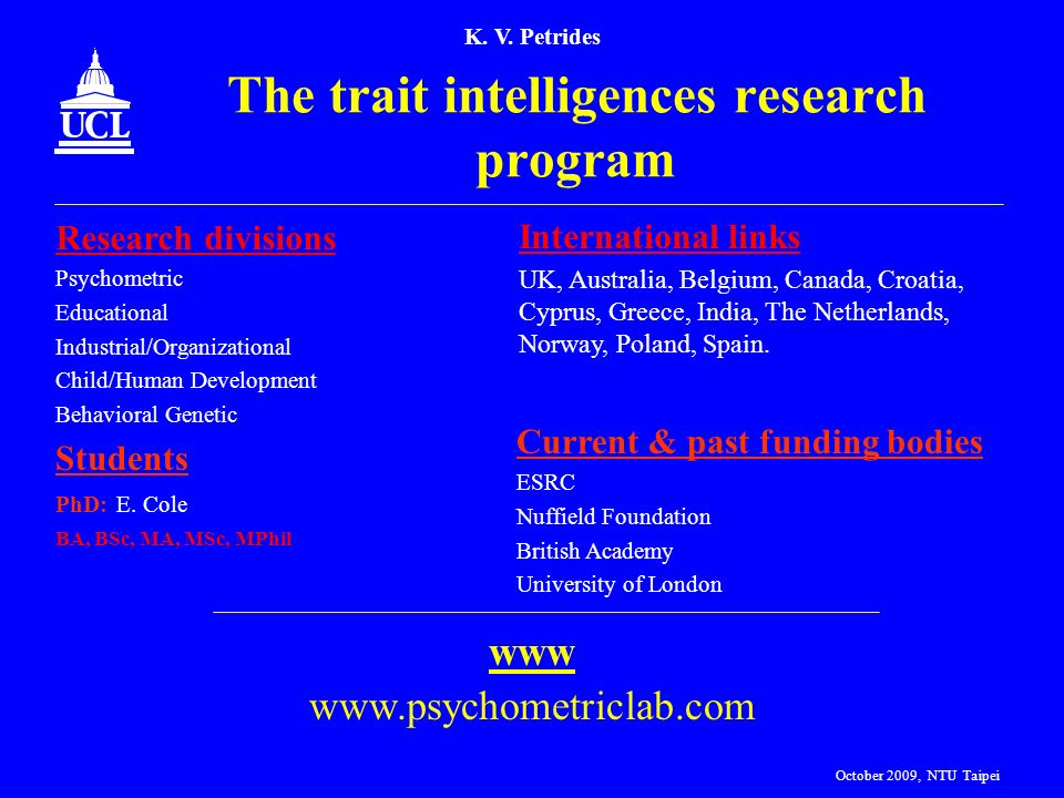 The trait intelligences research program