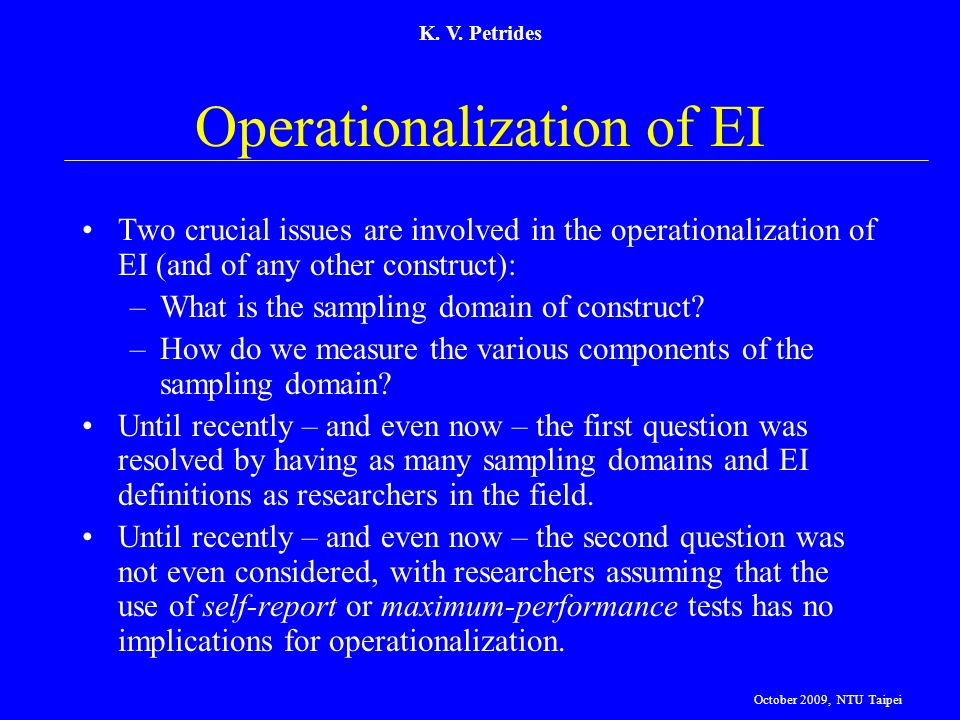 Operationalization of EI