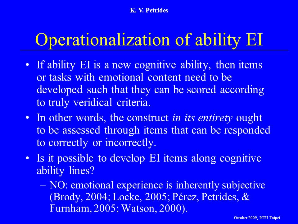 Operationalization of ability EI