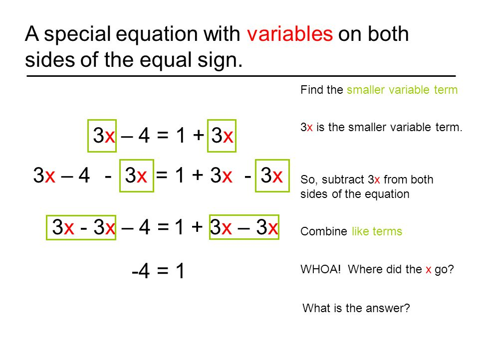 A special equation with variables on both sides of the equal sign.