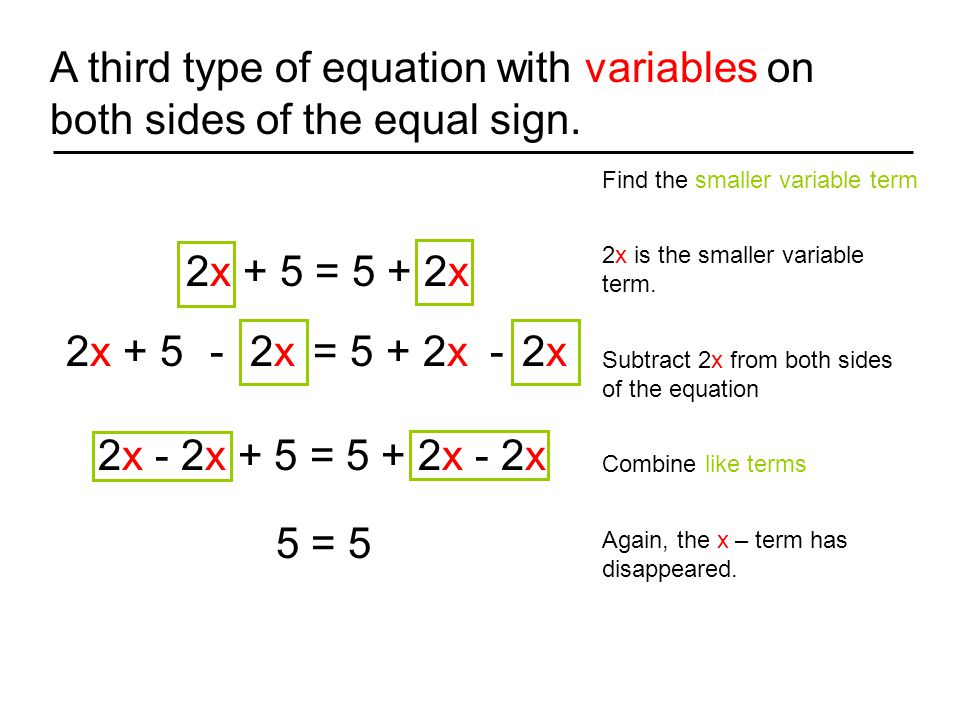 A third type of equation with variables on both sides of the equal sign.