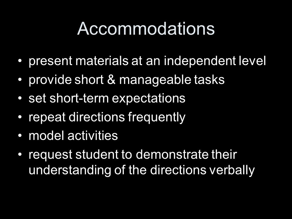 Accommodations present materials at an independent level