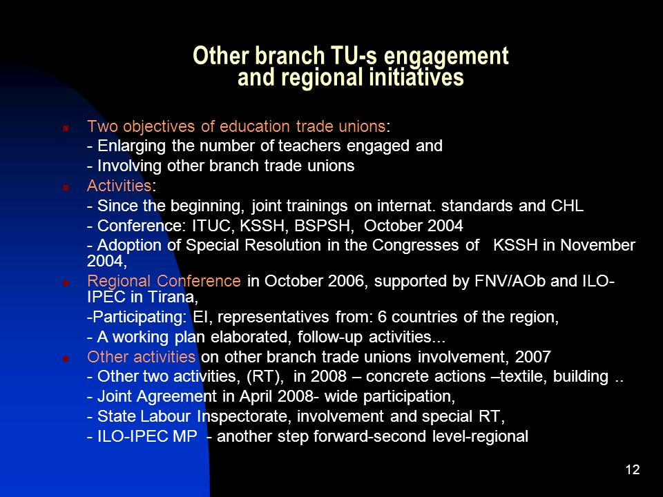 Other branch TU-s engagement and regional initiatives