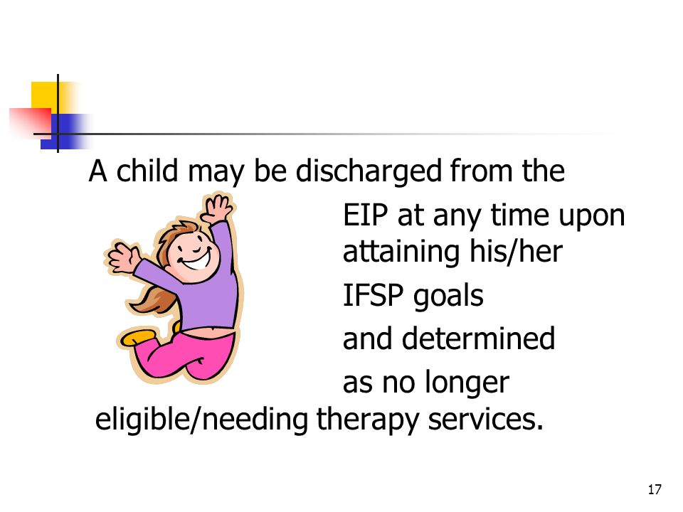 A child may be discharged from the