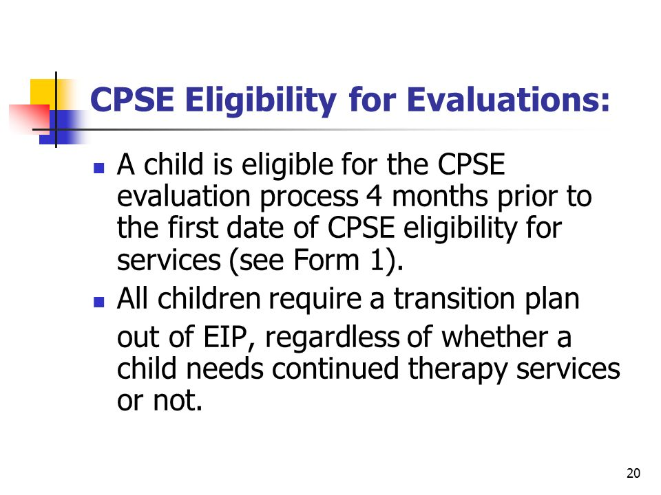 CPSE Eligibility for Evaluations: