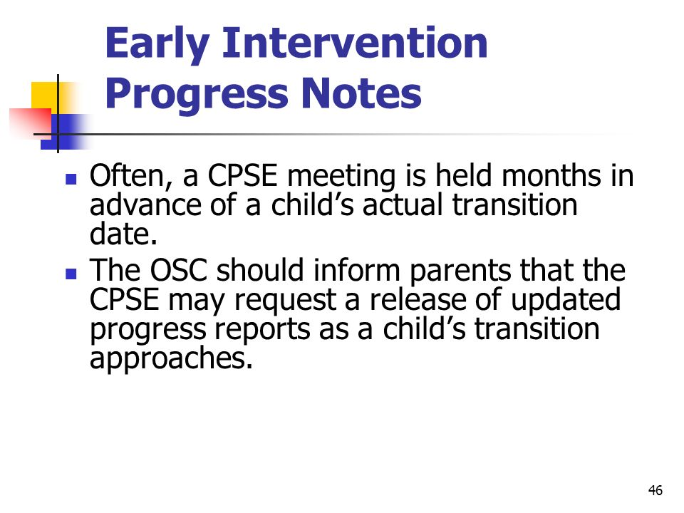 Early Intervention Progress Notes