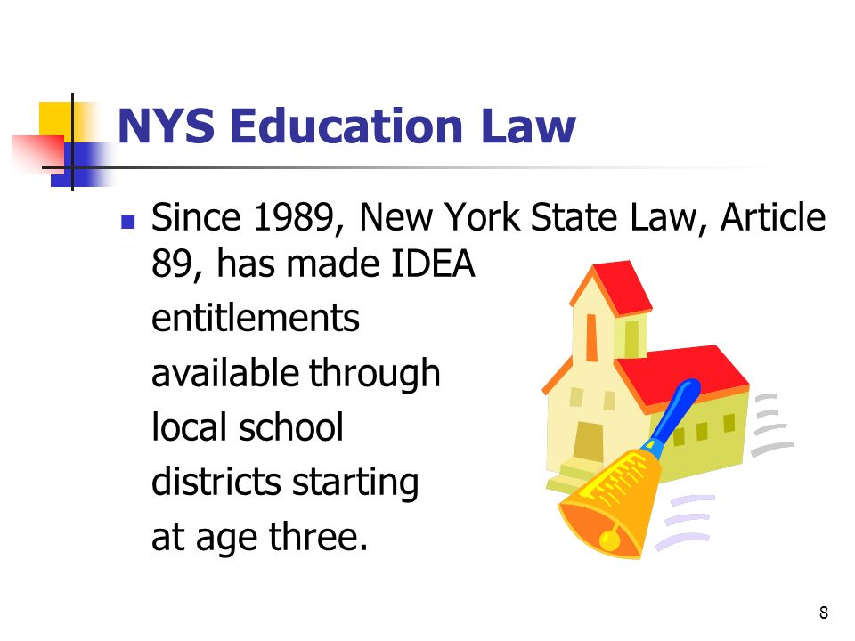 NYS Education Law Since 1989, New York State Law, Article 89, has made IDEA. entitlements. available through.
