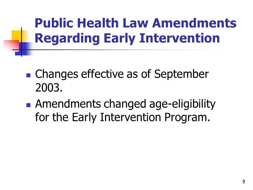 Public Health Law Amendments Regarding Early Intervention