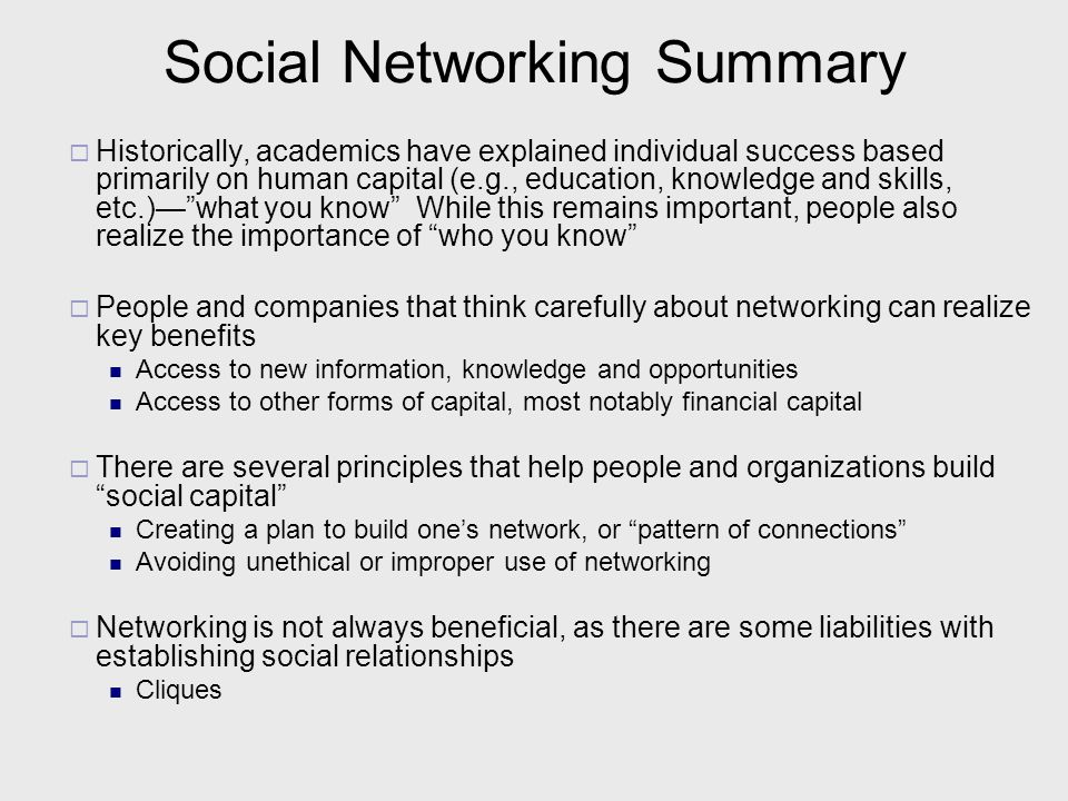 Social Networking Summary
