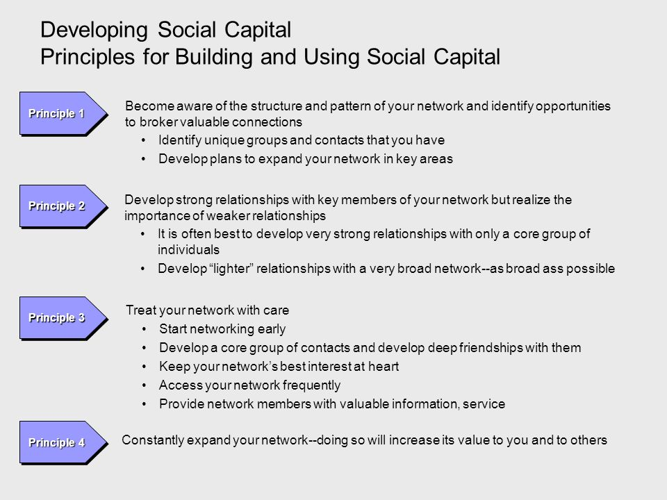 Developing Social Capital Principles for Building and Using Social Capital
