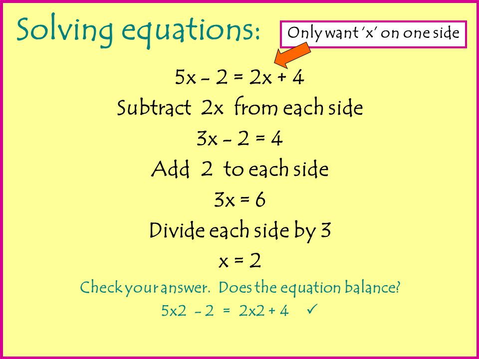 Solving equations: 5x - 2 = 2x + 4 Subtract 2x from each side