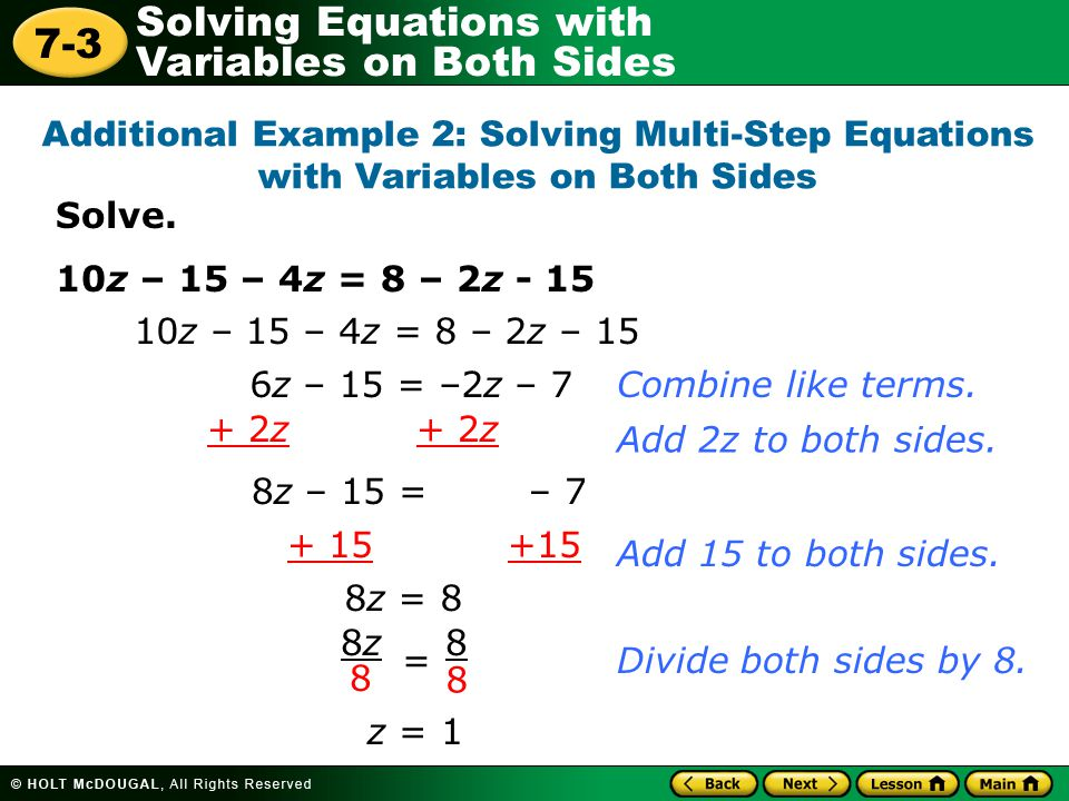 Additional Example 2: Solving Multi-Step Equations with Variables on Both Sides