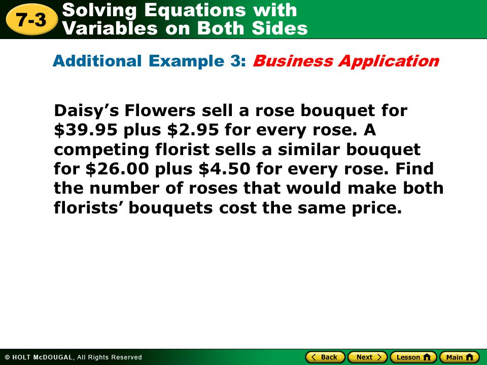 Additional Example 3: Business Application