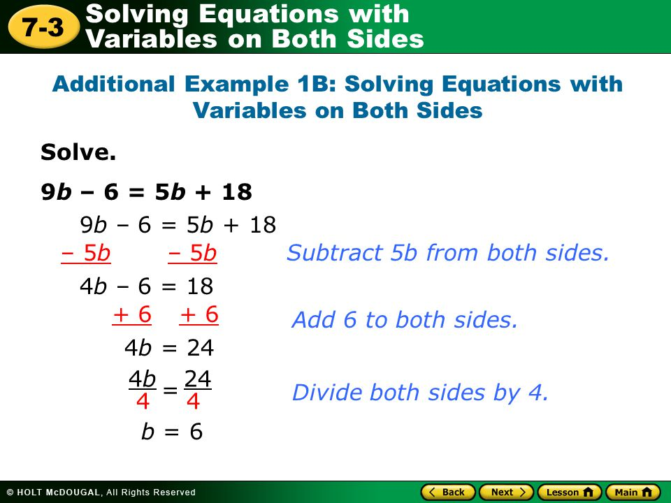 Additional Example 1B: Solving Equations with Variables on Both Sides