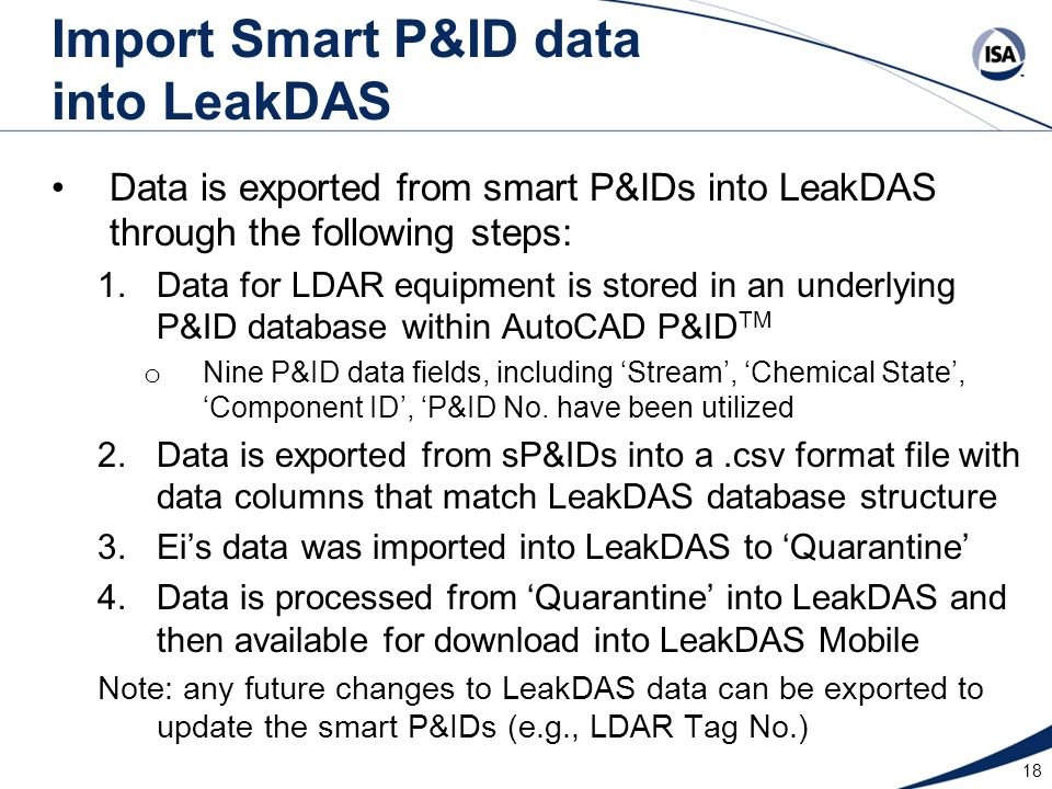 Import Smart P&ID data into LeakDAS