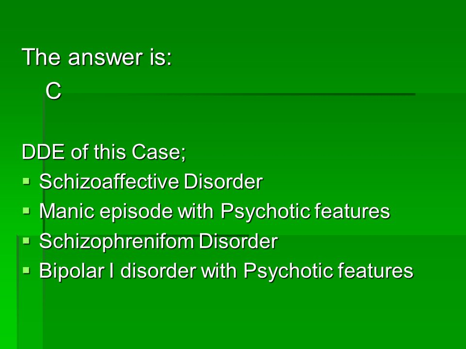 The answer is: C DDE of this Case; Schizoaffective Disorder