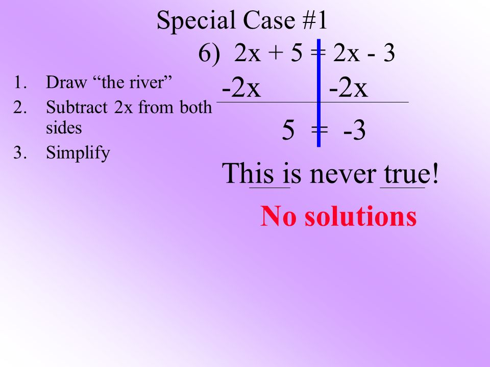 -2x -2x 5 = -3 This is never true! No solutions