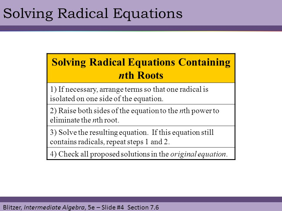 Solving Radical Equations Containing nth Roots