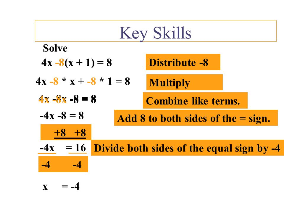 Key Skills Solve 4x -8(x + 1) = 8 4x -8(x + 1) = 8 Distribute -8