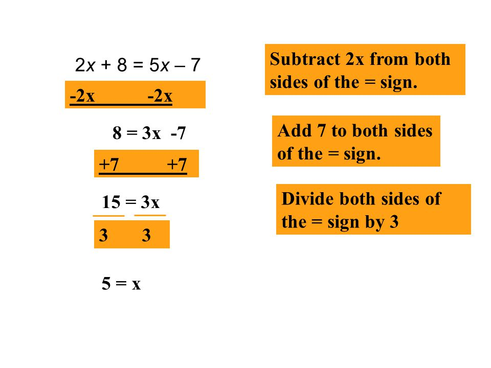 Subtract 2x from both sides of the = sign.