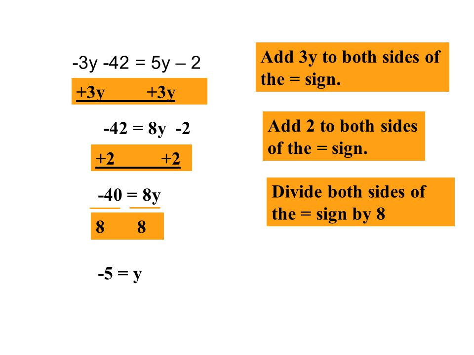 Add 3y to both sides of the = sign.