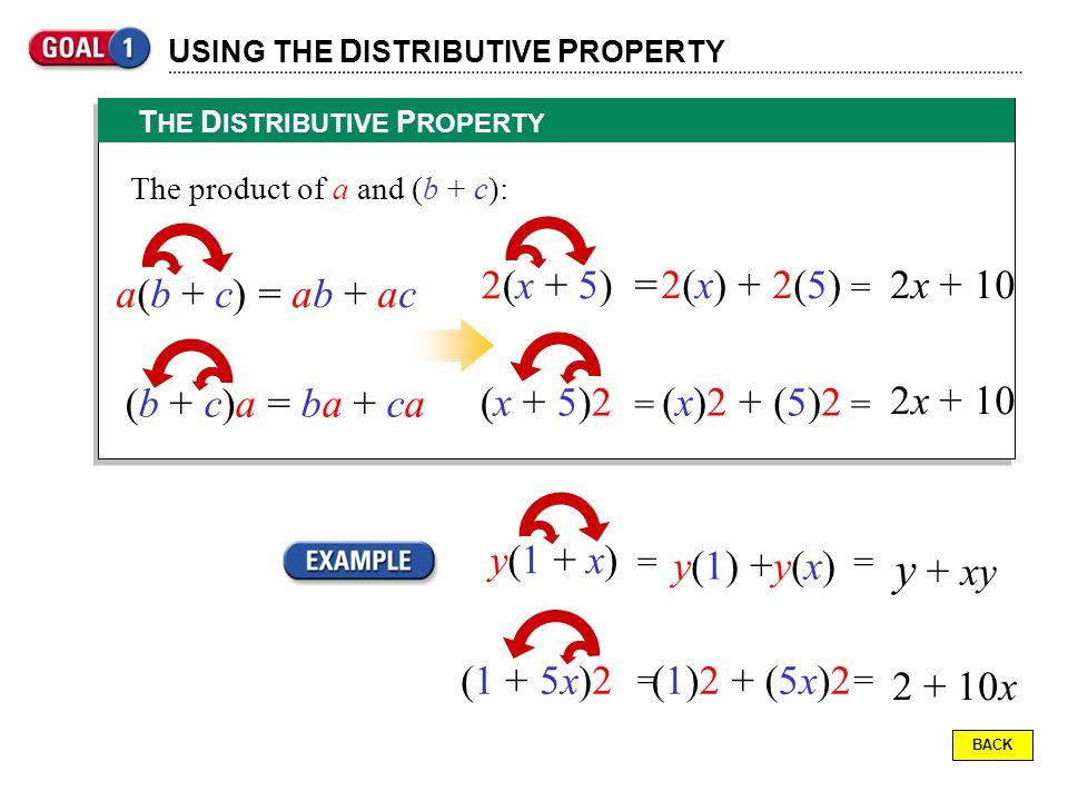y + xy 2(x + 5) = 2(x) + 2(5) 2x + 10 a(b + c) = ab + ac