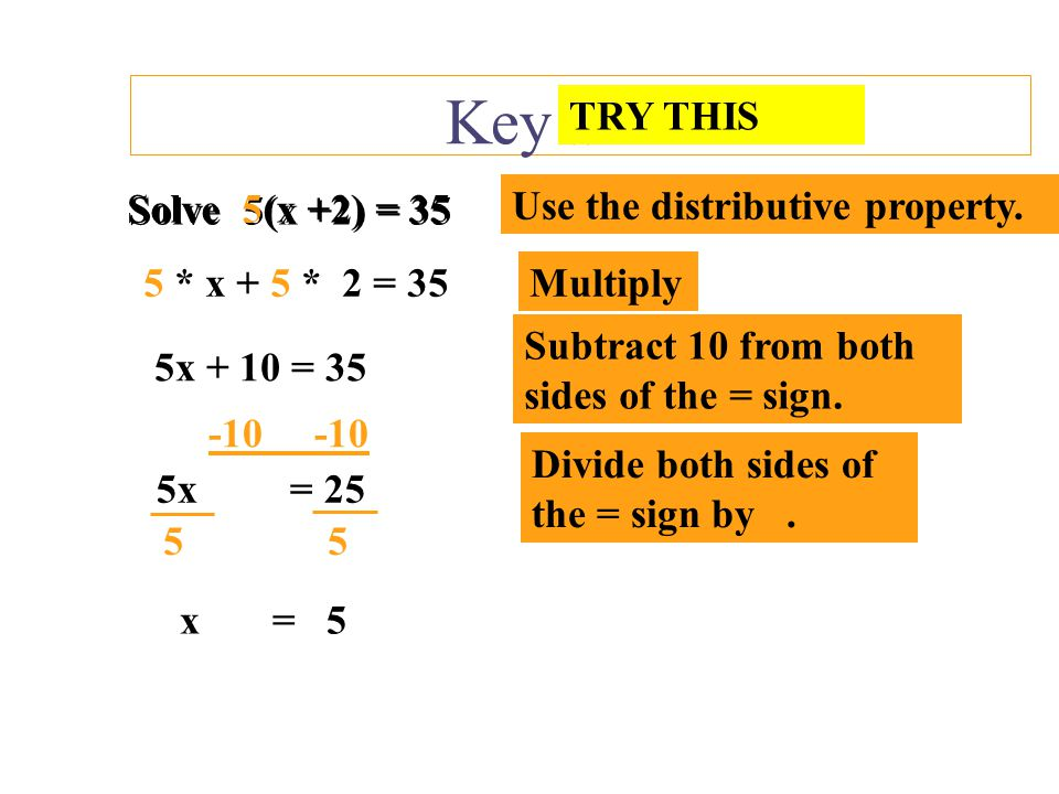 Key Skills TRY THIS Solve 5(x +2) = 35 Solve 5(x +2) = 35