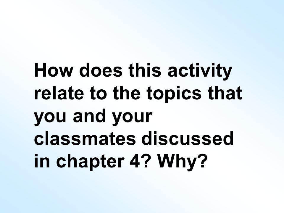 How does this activity relate to the topics that you and your classmates discussed in chapter 4.