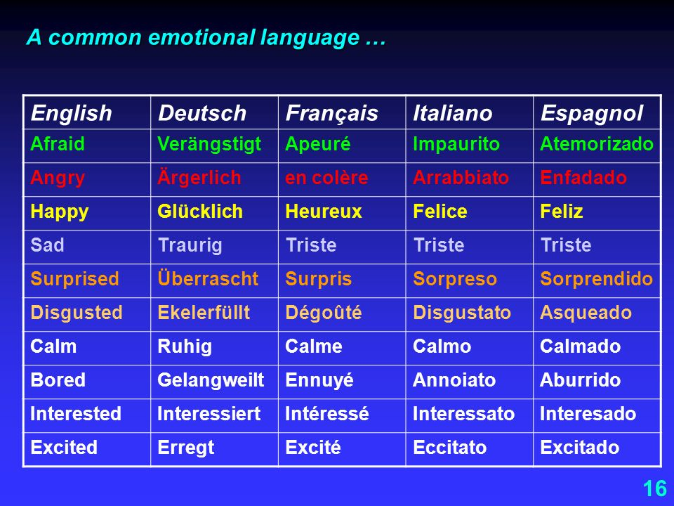 A common emotional language … English Deutsch Français Italiano