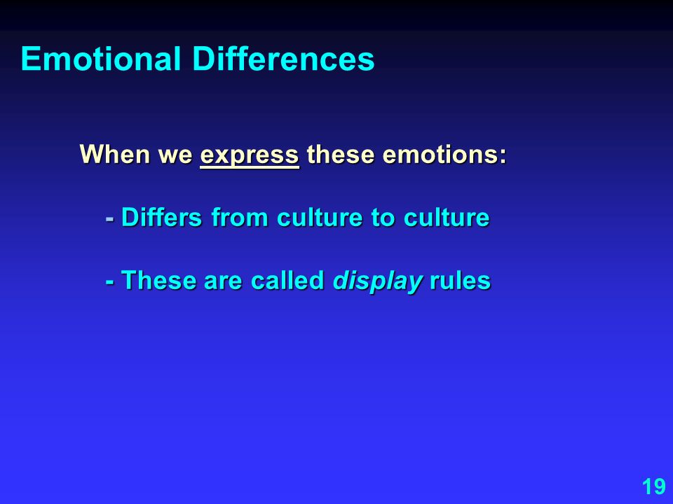 Emotional Differences