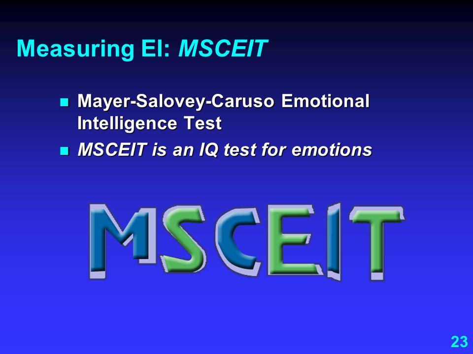 Measuring EI: MSCEIT Mayer-Salovey-Caruso Emotional Intelligence Test