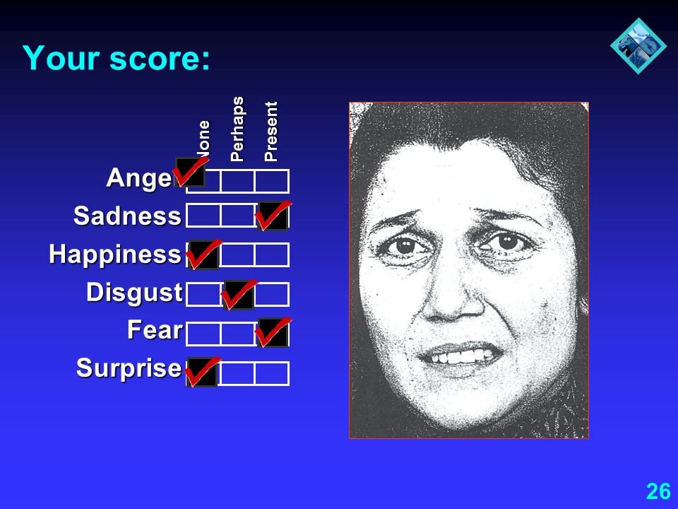 Your score: Anger Sadness Happiness Disgust Fear Surprise Perhaps