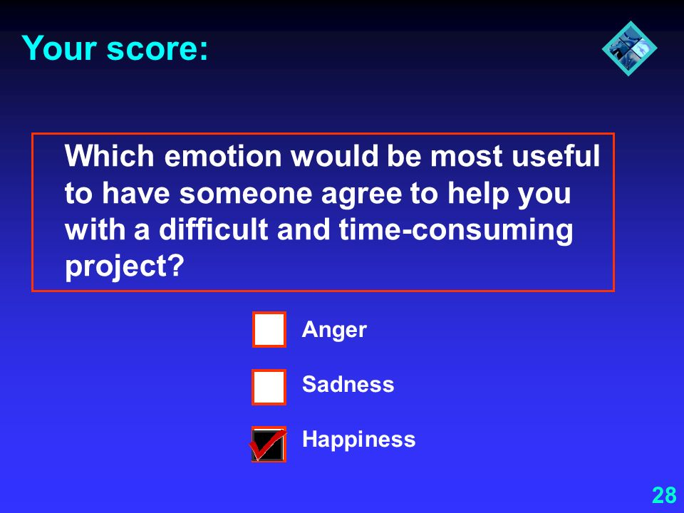 Your score: Which emotion would be most useful to have someone agree to help you with a difficult and time-consuming project