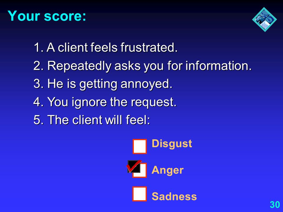 Your score: 1. A client feels frustrated.