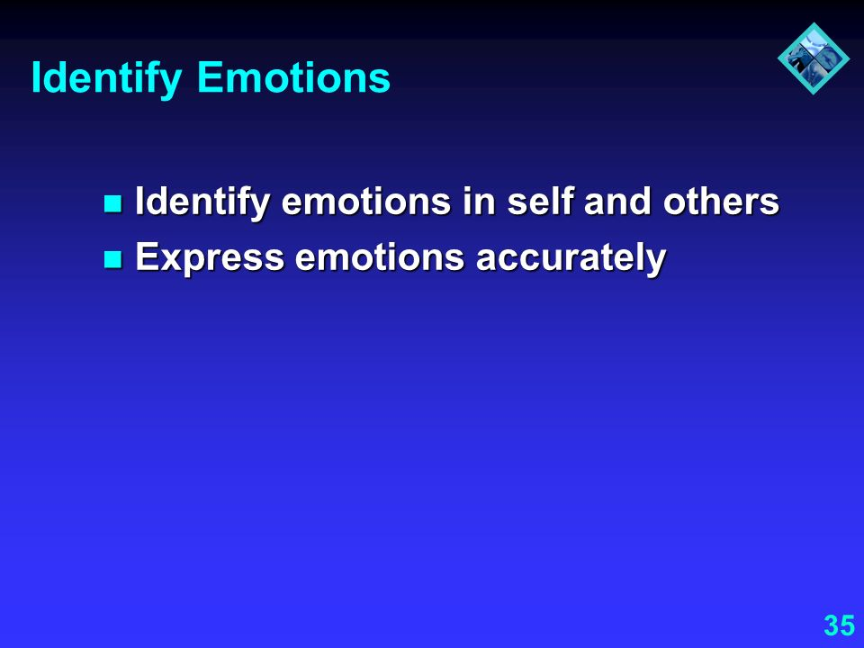 Identify Emotions Identify emotions in self and others