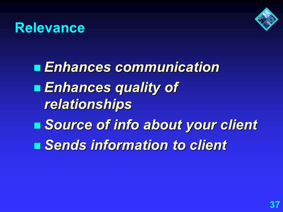 Relevance Enhances communication. Enhances quality of relationships. Source of info about your client.