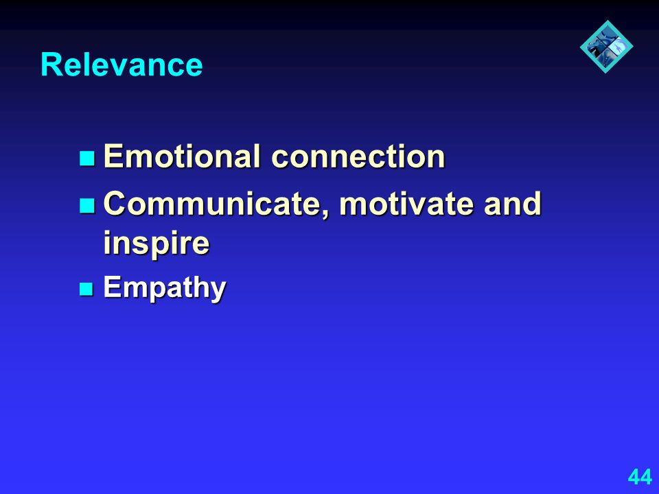 Communicate, motivate and inspire