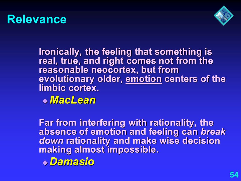 Relevance MacLean Damasio